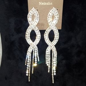 NWT Natasha Cascading Crystals Statement Earrings